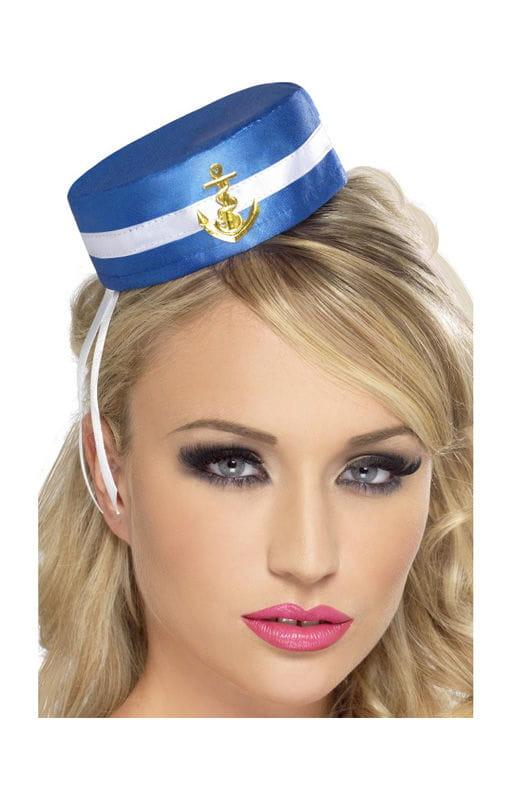 Matrosin Mini Hut Blau/weißer Sefahrerin Hut