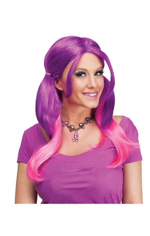 Ombré Zopfperücke pink-violett Damen-Perücke mit bunten Zöpfen
