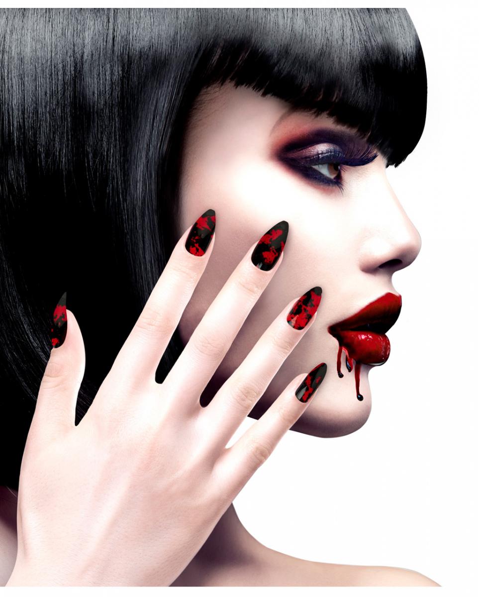 Schwarze Fingernägel mit Blutspritzer 12 St. bestellen