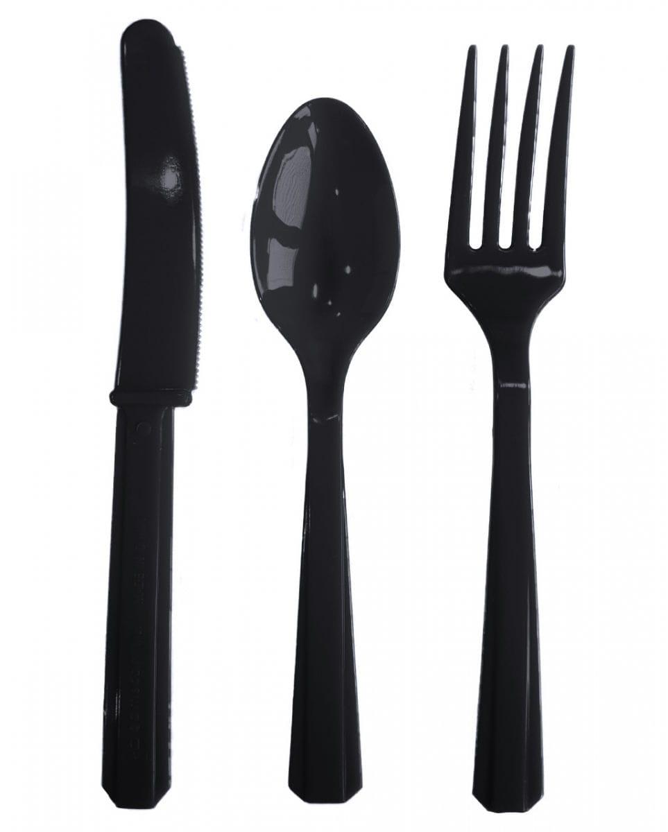 Kunststoffbesteck schwarz 24-teilig Schwarzes Plastikbesteck