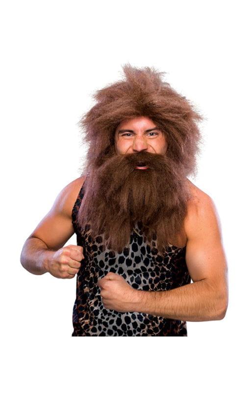 Neandertaler Perücke mit Bart braun Steinzeit Look Neandertaler