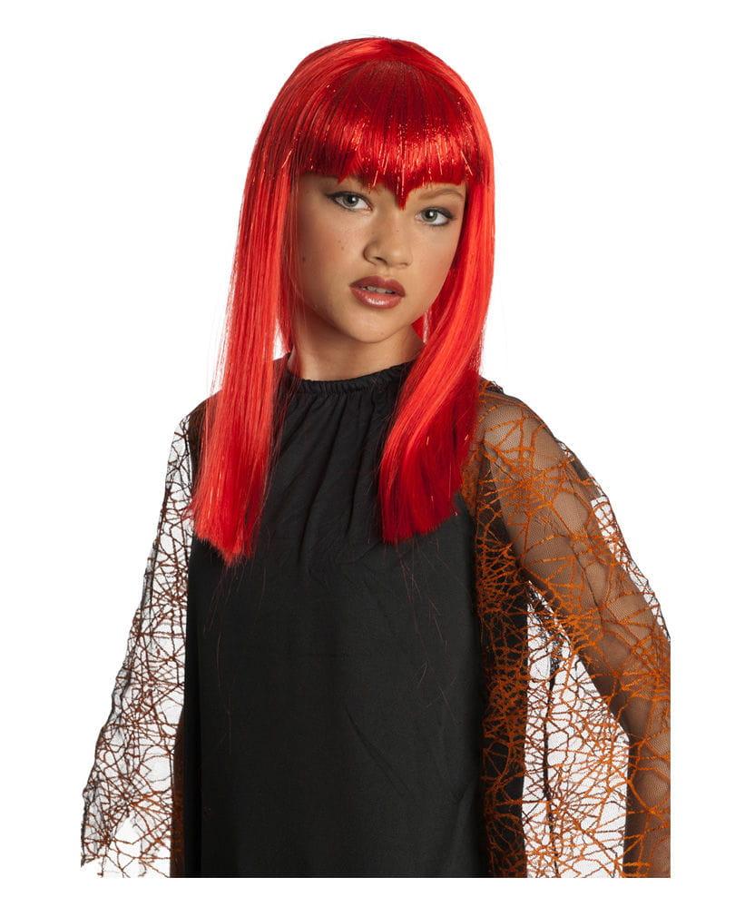 Rote Vampir Glitter Kinderperücke Vamp Kostüm Accessoire für