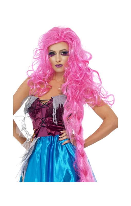 Wilde Rapunzel Perücke pink Zerzauste Märchen-Perücke