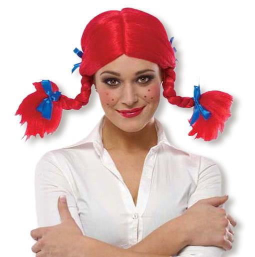 Zopf Perücke rot für Fasching & Karneval