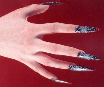 Fingernägel mit Spinnweben schwarz