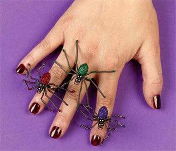 Glittering Spider Ring Purple