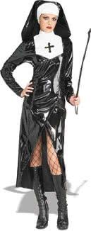 Sexy PU Leather Nun of  the Night Costume