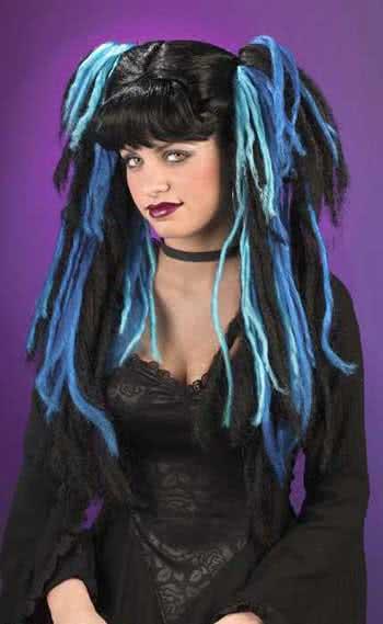 Gothic Hexen Perücke Blau