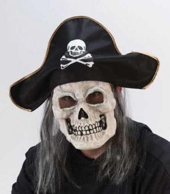 Piraten Skull Maske mit schwarzem Hut