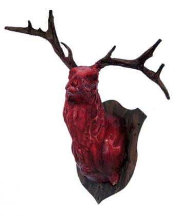 skinned bloody deer head