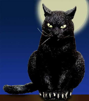 Schwarze lauernde Katze 31 cm