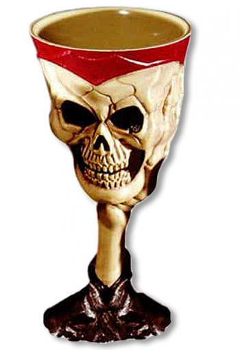 Halloween Skull Goblet Beige Red