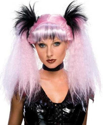 Gothic Punk Wig Long Pink / Black