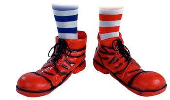 Clown Schuhe rot / schwarz