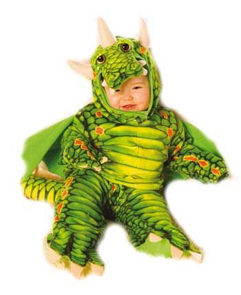 Fire Dragon Child Costume Green Gr. L
