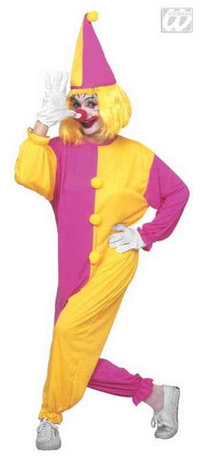 Clown Overall Kostüm rosa/gelb