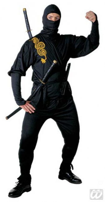 Schwarzes Ninja Kostüm Golden Dragon Gr. M