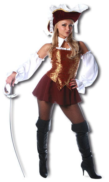 Sexy Musketeer Costume Premium Burgundy Gr. M