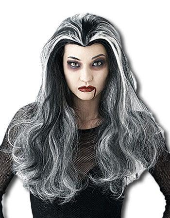 Vampirinnen Perücke schwarz/weiß