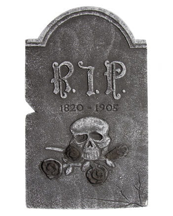 Grave stone skull with black roses