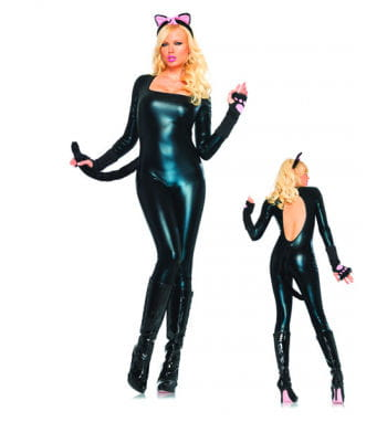 Glossy black catsuit