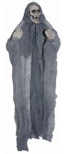 Gruseliges Hängeskelett grau