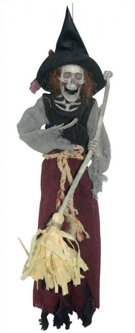 Witch with Broom Decoration