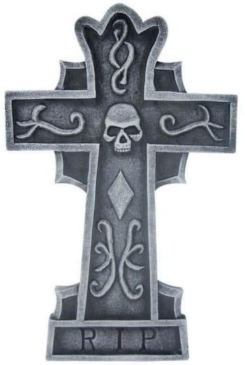 Grave stone cross Skull & RIP