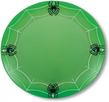 Cobwebs Place plate with spinning neon green