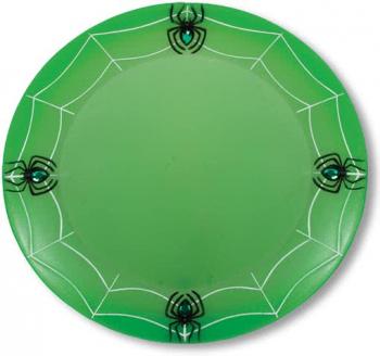 Spinnweben Platzteller mit Spinnen neongrün
