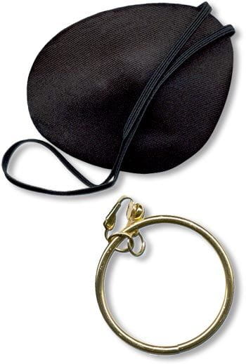 Satin Pirate Eye Patch with Earring
