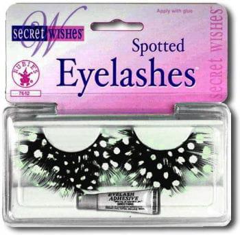 Feather eyelashes white polka dots