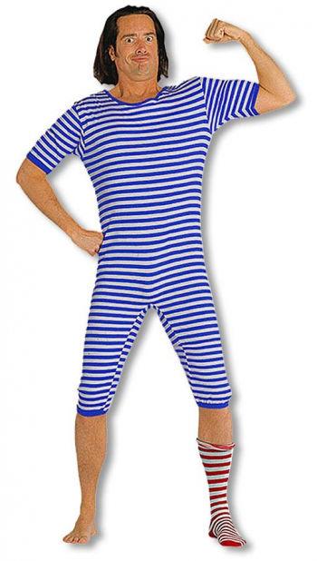 Mens Striped Bathing Suit Blue White XL