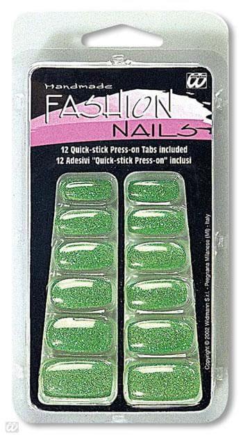 Glitter fingernails green