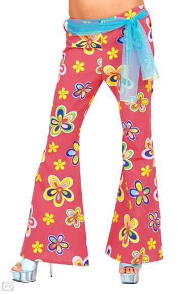 Coral red Hippie pant with flowers