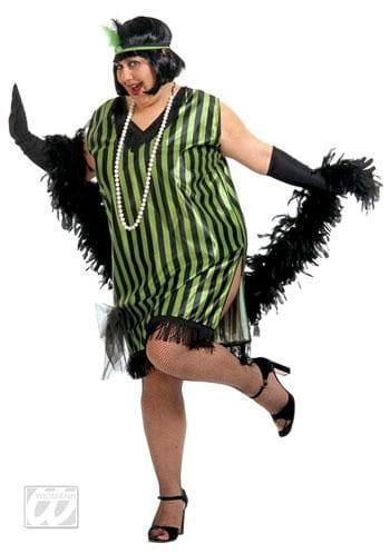 Charleston Kleid schwarz grün XL
