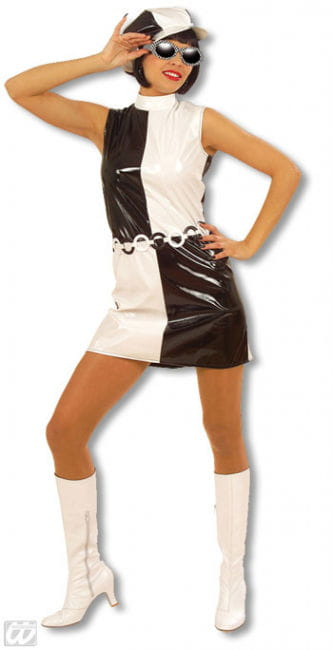Sixties Dress Black and White L