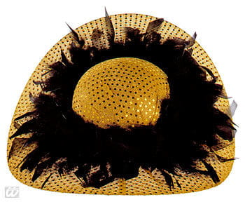 Glitter Party Hat with Feathers Gold