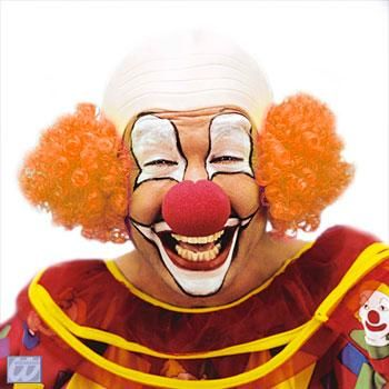 Clown Glatze mit orangem Haar
