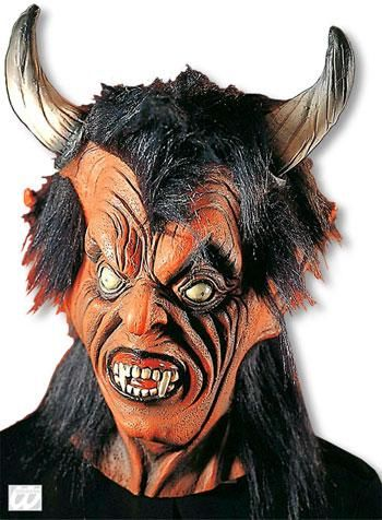 Devil Mask with Black Hair