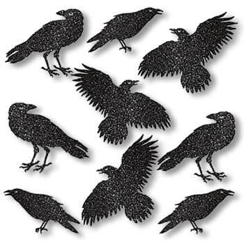Black Raven silhouettes with Glitter