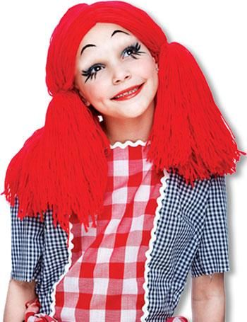 Puppen Kinderperücke rot