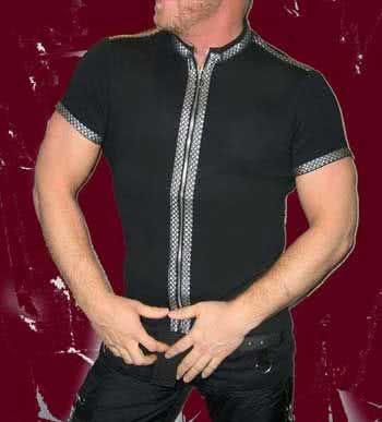 Blk Shirt Zipper Silver border Gr.M