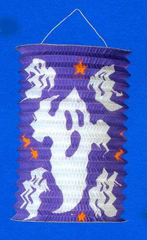 Lantern / lantern with ghosts 20cm purple