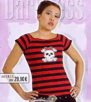 Black/Red Shirt Stripes, White Skull on Front Size L
