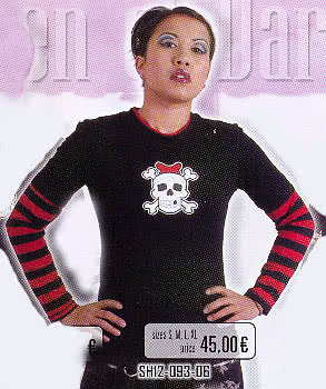 Black Shirt Skull Red and Black Sleeves Size L