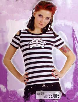 white / black Shirt schulterfrei Gr. M