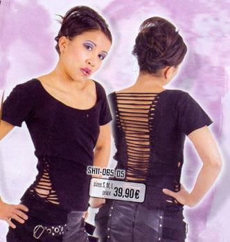 Black Ripped Shirt Lycra Size M