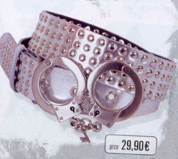 Belt Silver 4 Reihig handcuff buckle
