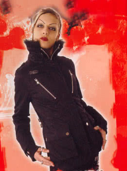 Jacket with Zippers, Pockets and Fur Collar Size L